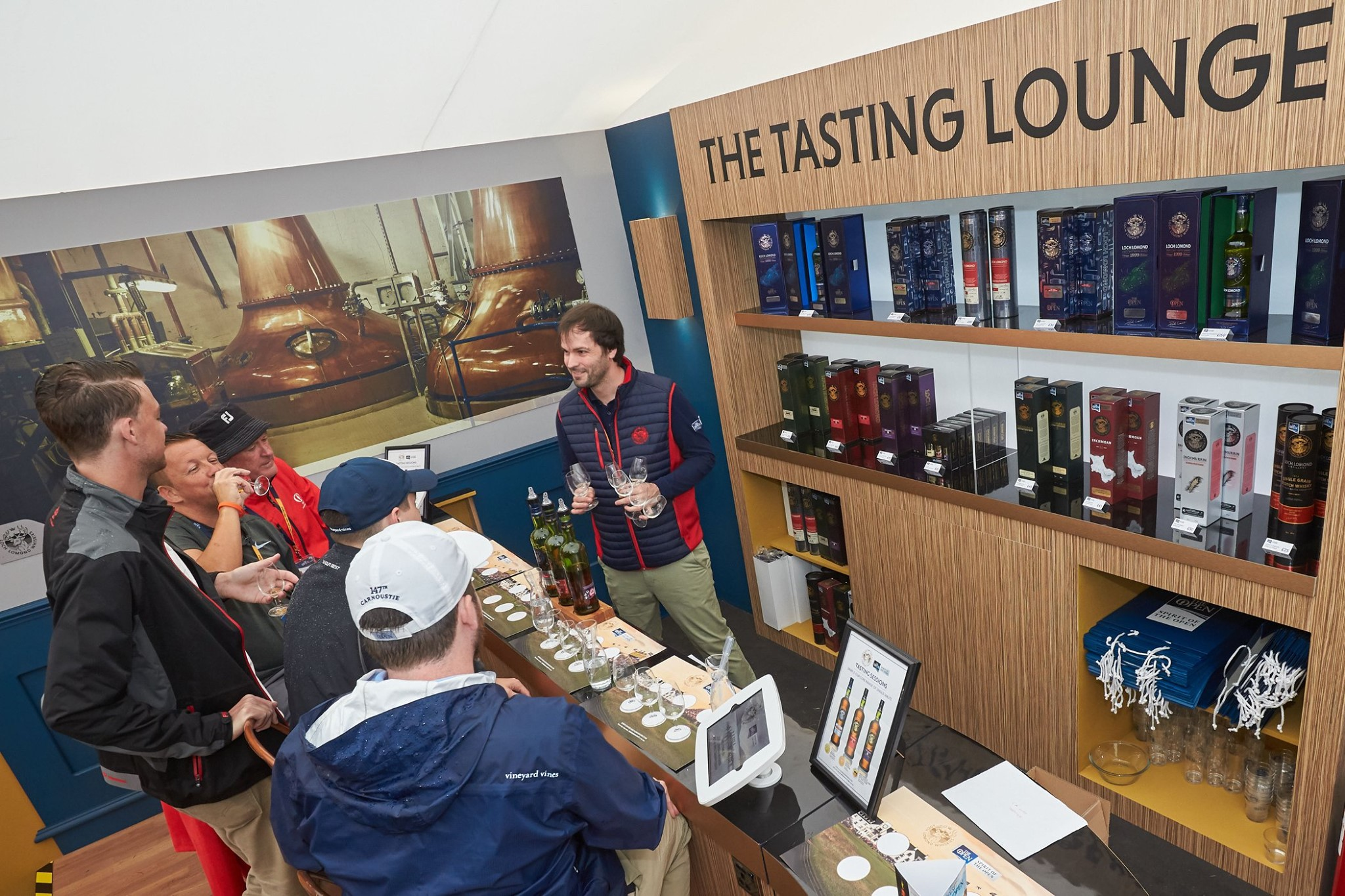 A stand at the Springfield food festival serving whisky