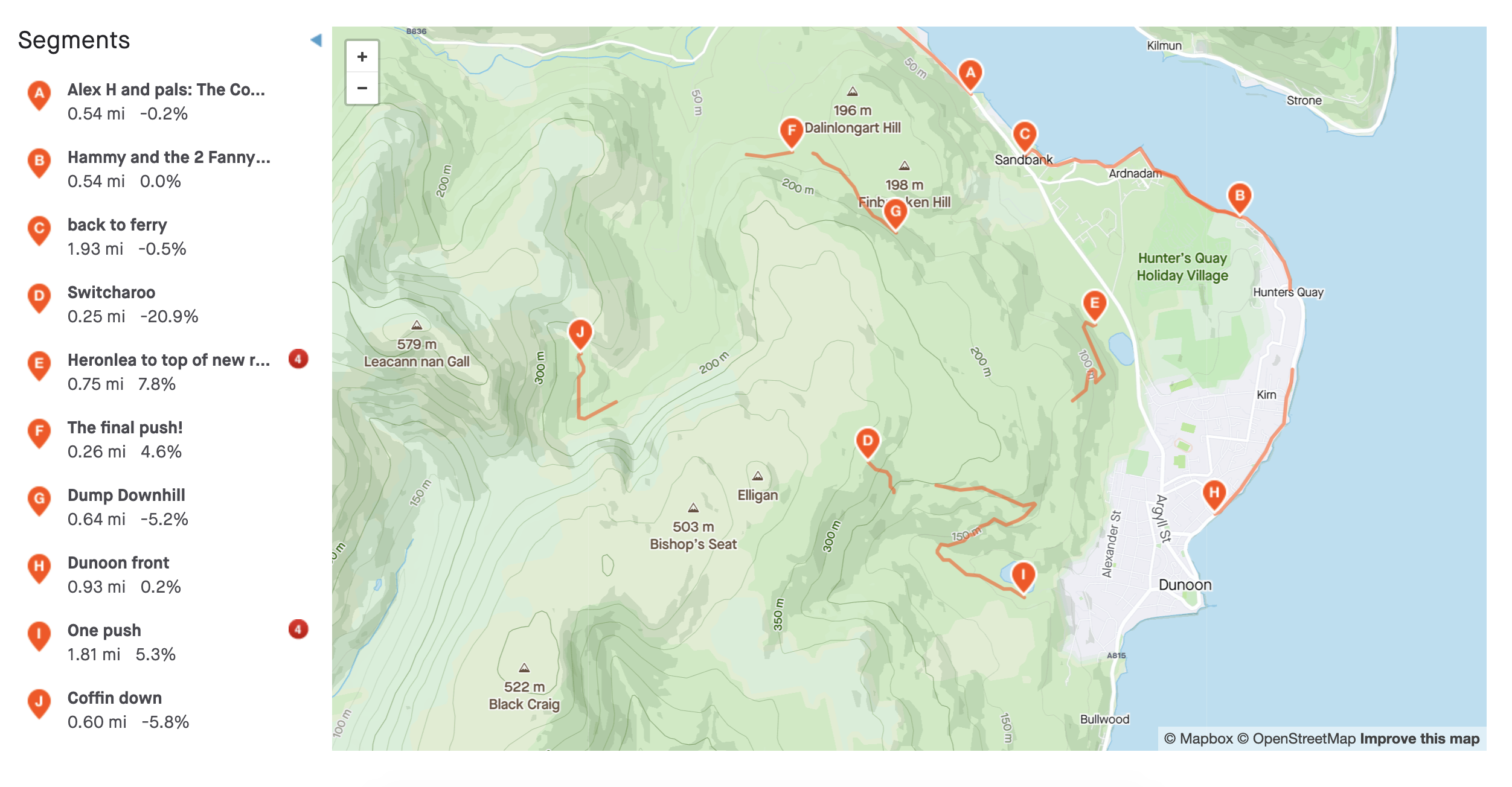 A map of cycling routes near Dunoon on Strava