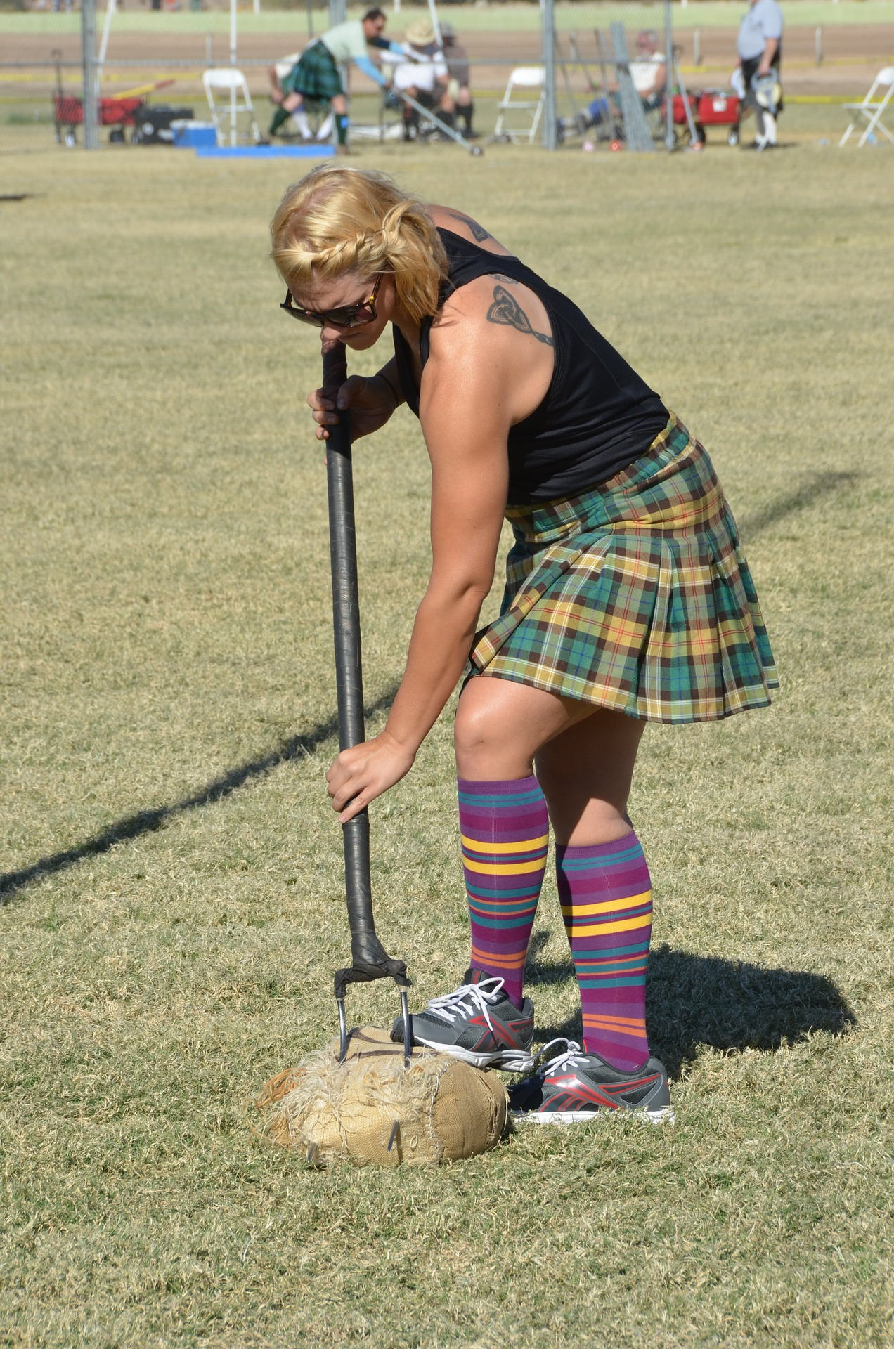 sheaf toss at a highland games event