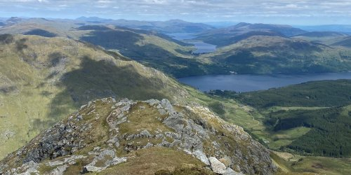 From the summit of Ben Vane looking East across Loch Lomond, Loch Arklet and Loch Katrine