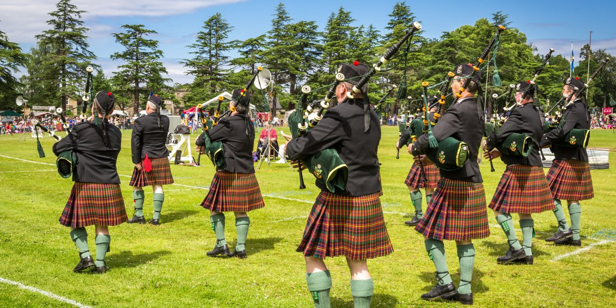 bagpipes at a highland games gathering
