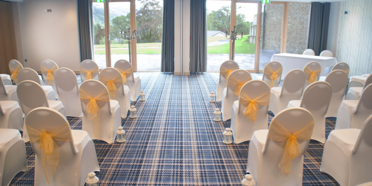 The view walking down the aisle at Drimsynie Estate