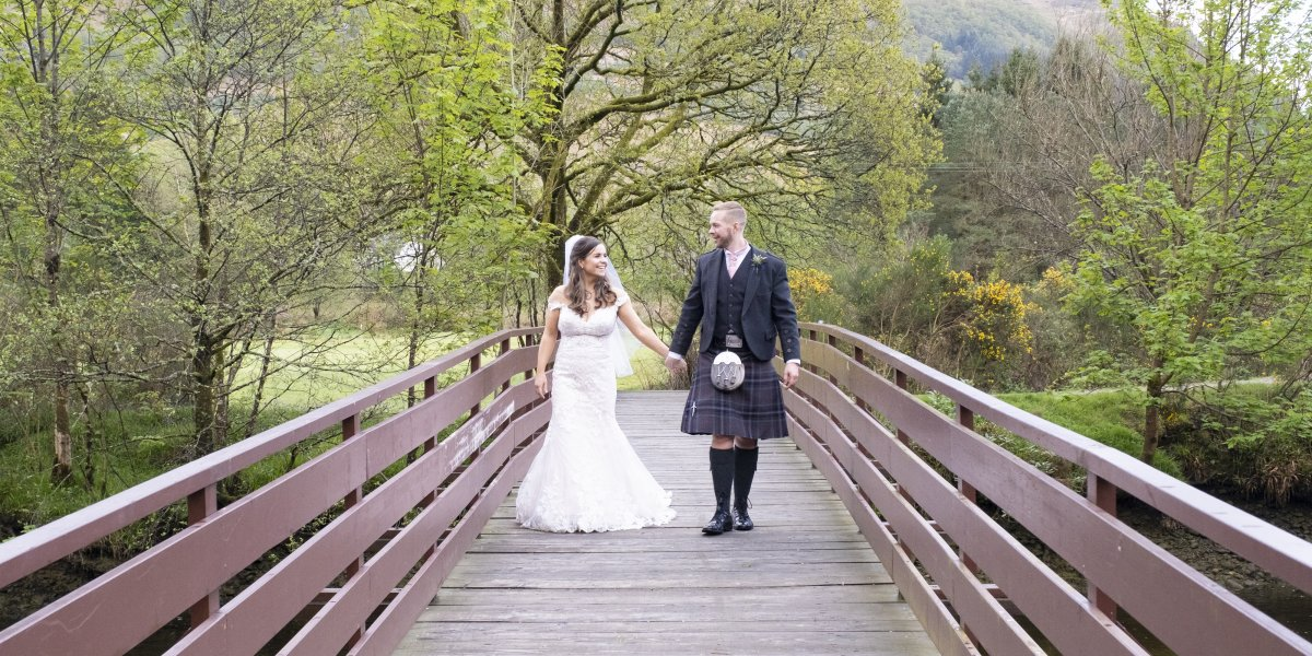A beautiful bride and groom at Drimsynie Estate